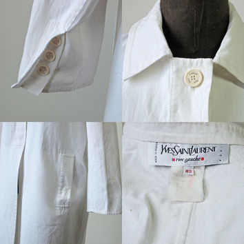 Yves Saint Laurent 80's White Lab Coat Hidden Buttons Back Pleat Size Medium/Large