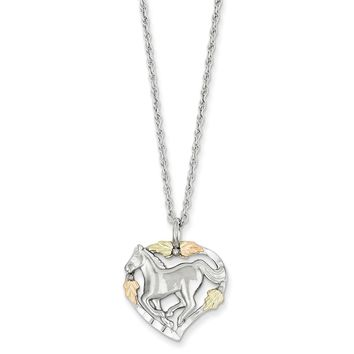 Sterling Silver & 12K Horse In Heart Necklace