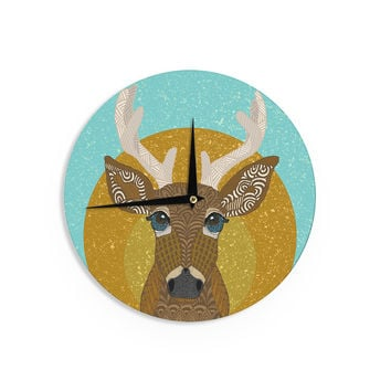 "Art Love Passion ""Stag in Grass"" Yellow Blue Wall Clock"