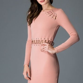Sweet Mello Long Sleeve Bodycon Dress With Eyelet Tie Detail