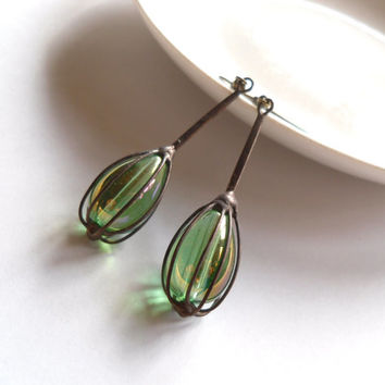 Copper wire, contemporary jewelry, wire earrings, spring green iridescent beads, artistic jewelry, funky earrings, Spring
