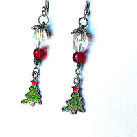 Enameled Christmas tree beaded dangle earrings, tree earrings, Christmas tree earrings, Christmas earrings, Christmas jewelry,green earrings