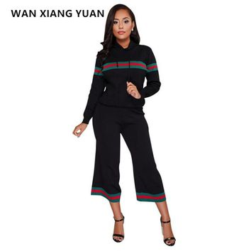 Two Piece Set 2017 Fashion Winter Tracksuit Women Full Sexy Sweat Suits Striped Long Sleeve Top + Pants 2 Piece Set Women 1215