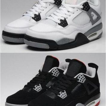 DCK7YE Air Jordan Retro 4 White Cement Basketball Shoes 4s Bred Black Grey Men Sports Sneaker