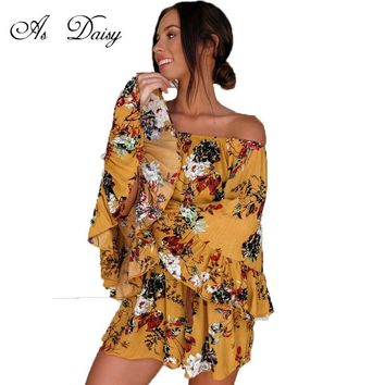 As Daisy Off Shoulder Ruffled Flare Long Sleeve Rompers Short Jumpsuit Floral Print Playsuit Sexy Beach Bodysuit Overalls JP1757