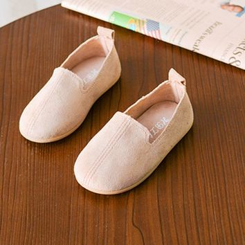 Solid Color Children Casual Shoes Shoes Soft PU Leather Flat Shoes with Anti-slip Rubber Sole