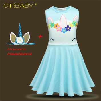 Kids Floral Unicorn Dress for Girls Girl Christmas Party Dress Horse Clothes 2 3 4 5 6 7 8 9 10 Years Girls Dress Girl Clothing