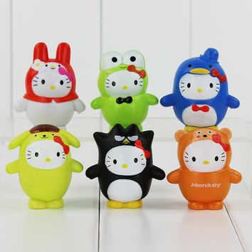 Cute My Melody Doll Set Toy Sanrio Hello Kitty Cosplay badte-maru Keroppi action figure Melody PVC Figure Doll Toys Kids Gift