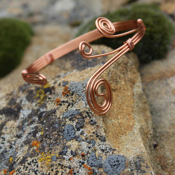 Metal Copper Cuff Bracelet With Three Swirls, Tribal BOHO Earthy Hypoallergenic Women Gift, Copper Jewelry, Fall Fashion, Natural Jewelry