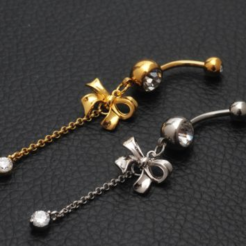 Fashion bowknot shaped tassels  zircon belly button ring antiallergic Navel Belly Ring-0428-Gifts box