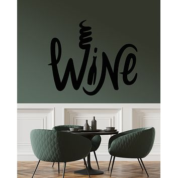 Vinyl Wall Decal Wine Bottle Alcohol Bar Word Logo Stickers (3296ig)
