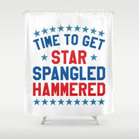 Time to Get Star Spangled Hammered - 4th of July Shower Curtain by CreativeAngel