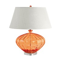 209 Recycled Fluted Glass Urn Table Lamp In Orange