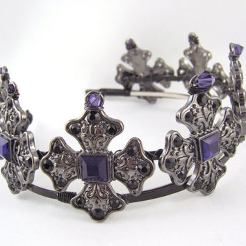 The Iron Lady - Deep Purple Gunmetal Iron Cross Crown