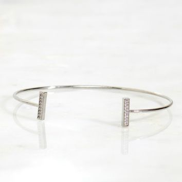 Mini Rectangle Stack Bracelet Silver