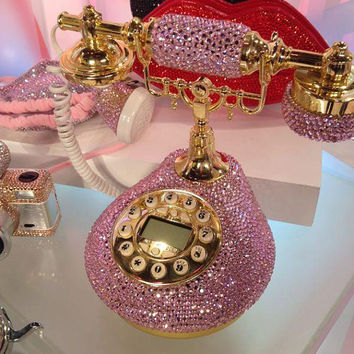 Bling Classic Vintage Pink telephone handmade w/ Swarovski Crystal element