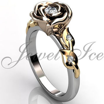 Flower Engagement Ring - 14k three tone white, rose and yellow gold diamond unique flower engagement ring, wedding ring ER-1110-8
