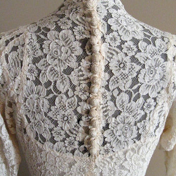 1930's vintage Cream Lace Wedding Dress  bias by SheepishCreations