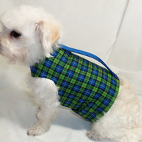 RockinDogs Royal Blue and Lime Green Plaid Summer Dog Harness