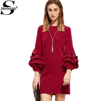 Sheinside Woman's Fashion Fall Casual Dresses Women Business Casual Clothing Red Drop Shoulder 3/4 Sleeve Dress