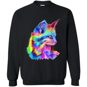Colorful Cute Rainbow Kitten Cat Psychedelic Rave Edm  Printed Crewneck Pullover Sweatshirt