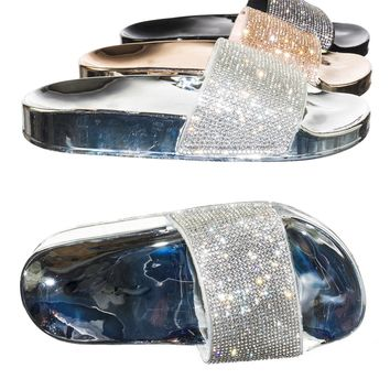 Stun02K Children Girl Rhinestone Crystal Jelly Slipper Sandal Molded Footbed