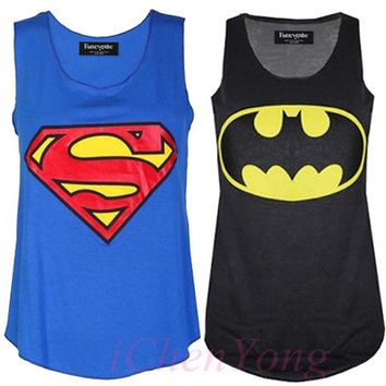 Womens Superman Batman Print Ladies Sleeveless Racer Muscle Vest Top