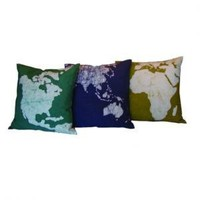 Ethically Made World Map Cushion Cover from India at Greenheart Fair Trade Home Decor - Greenheart Shop