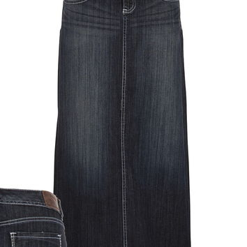 Dark Wash Long Denim Skirt