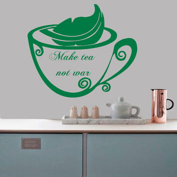 Wall Decals Quote Phrase Make Tea Not War Kitchen Cafe Home Vinyl Decal Sticker Kids Nursery Baby Room Decor kk340