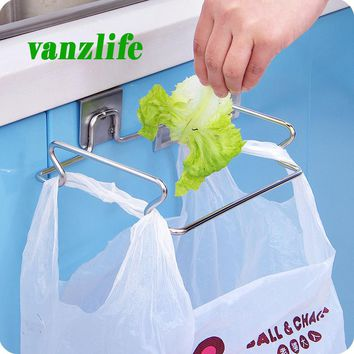 vanzlife creative back door stainless steel trash bag shelf storage hook multifunctional kitchen cabinet door hanging racks