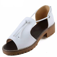 Womens Classic 90s Retro Style Open Toe Platform Wedge Sandals in Black or White Size 5-8.5