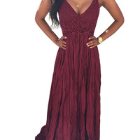 V Neck Backless Lace Chiffon Dress In Burgundy