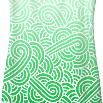 Ombre green and white swirls doodles Simple Dress