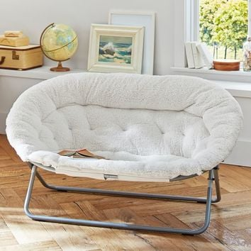Ivory Sherpa Double Hang-A-Round Chair