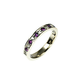 Amethyst wedding band, whiter gold ring, white sapphire wedding, purple wedding, amethyst engagement, half eternity ring, gold wedding, pave