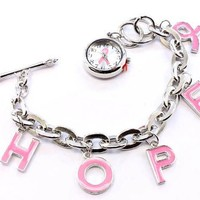 HOPE Pink Breast Cancer Awareness Pink Ribbon Charm Bracelet Watch