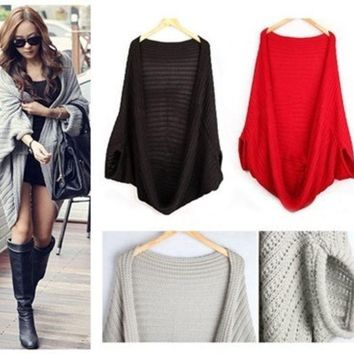 Knitted Sweater Women Sweatshirt Knitted Sweater Batwing Cape Shawls Long Cardigan Jacket = 1946141764