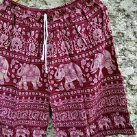 Large to XL Unisex shorts Boho elephants pattern print Beach Summer clothes Hobo Clothing Native Styles Hipster Hippies comfy for men in Red