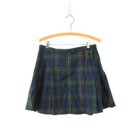 Plaid Kilt Skirt School Girl PLEATED Green High Waisted 90s Preppy Checkered Revival Vintage Lolita Mini Skirt 1980s Size 10 Medium
