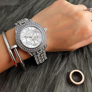 Michael kors luxury women's fashion diamond watch silver n-fushida -8899.