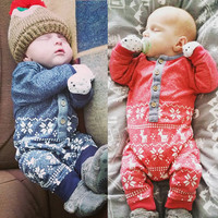 Xmas Deer Baby Boys Girls Infant Knit  Jumpsuit Clothes