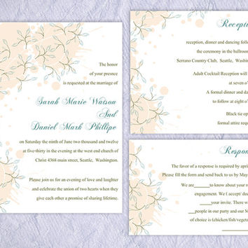 DIY Wedding Invitation Template Set Editable Word File Instant Download Printable Peach Invitation Leaf Wedding Invitation Blue Invitations