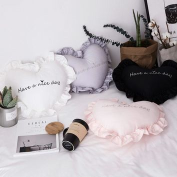 New 100% Cotton Heart Shape Embroidered Decorative Throw Pillow with Ruffles Soft White Grey Pink Decorative Pillow for Bedroom