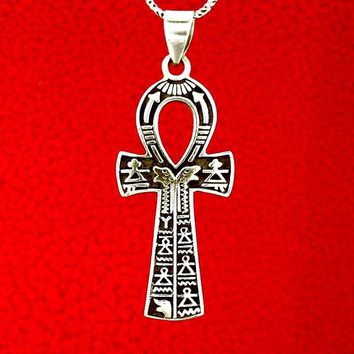 Ankh Symbol Necklace Decorated With Hieroglyphics
