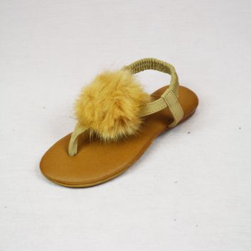 lil' belle pom sandals - tan