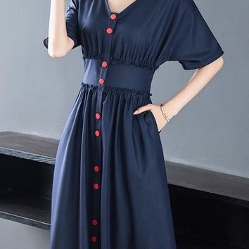 Midi Dress W/ Red Buttons