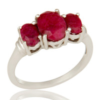 925 Sterling Silver Ruby Natural Corundum Gemstone Prong Set Ring