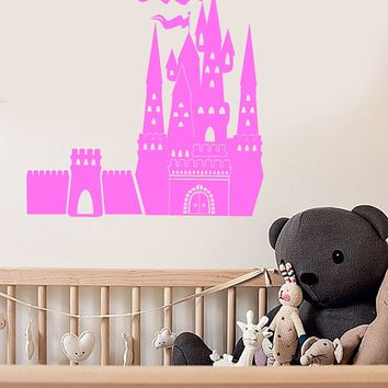 Vinyl Wall Decal Fairytale Castle Nursery Kids Room Stickers Mural Unique Gift (ig3721)