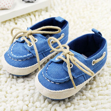Toddler Boys Girls First Walkers Soft Sole Crib Canvas Shoes Lace-up Sneaker Baby Shoes Prewalker Footwear Newborn Kids Shoes NW
